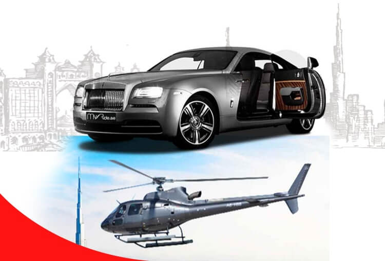 Rent-Rolls-Royce-Wraith-with-1Person-Helicopter-Tour-Dubai
